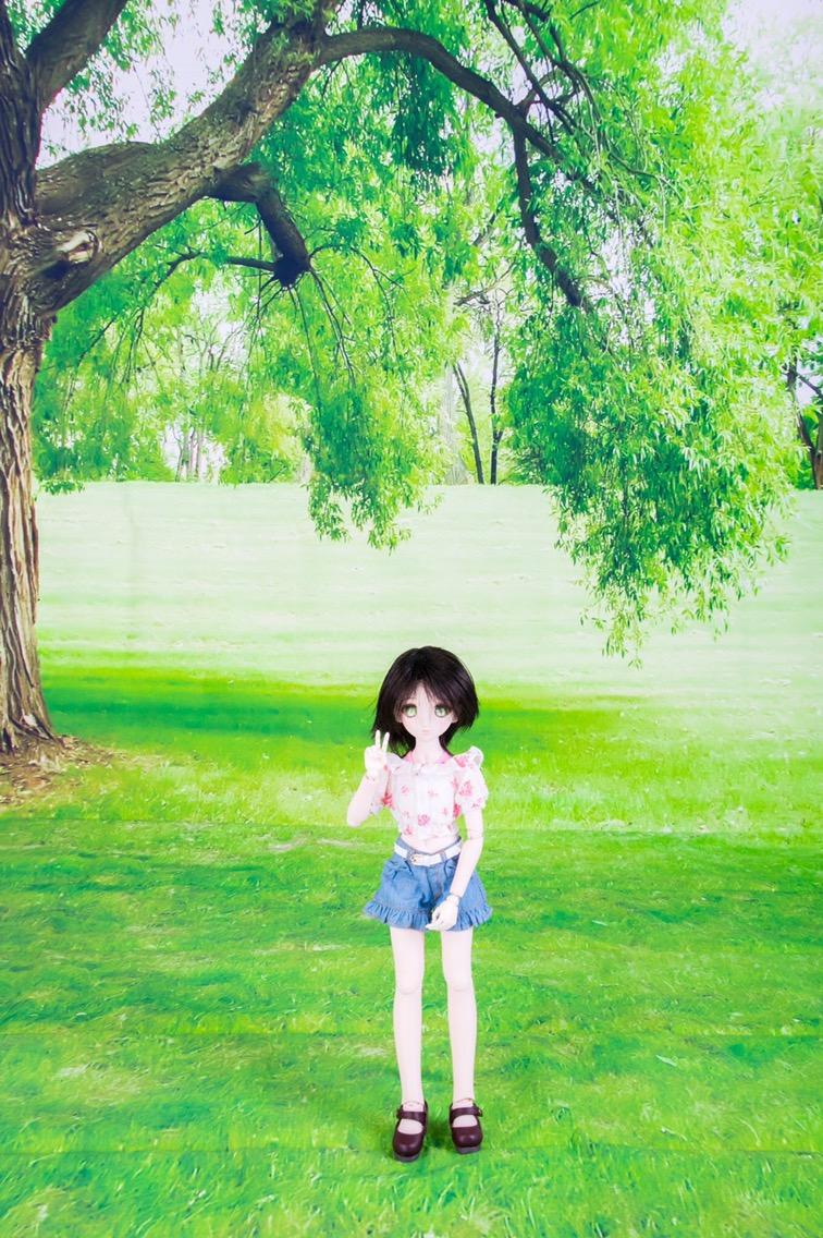大きな木の下の芝生(ドール向け)