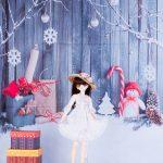 ドール用 スノーマンと積雪(クリスマス) 背景布(120cm×60cm)