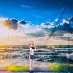 ドール用 朝日と海 背景布(190cm×150cm)