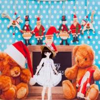 ドール用 テディベア(クリスマス)背景布(120cm×60cm)